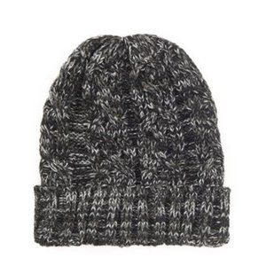 Forever 21 Marled Cable Knit Beanie Black White OS